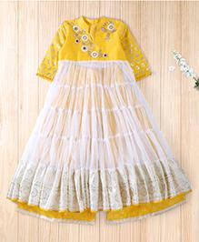 Twisha Fashionable Tiered Kurta With Foil Print Plazzo - Yellow