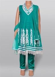 Kurta Churidar And Duppata Set - Green