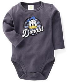 Fox Baby Full Sleeves Onesie Donald Duck Print - Grey