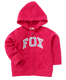 Fox Baby Full Sleeves Sweat Jacket Fox Patch - Fuchsia