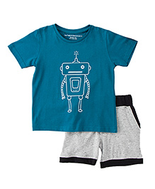 Brown Boy Mini Organic Cotton Geometric Robot Print Tee & Shorts - Grey & Blue