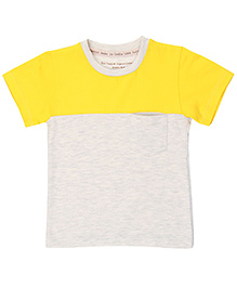 Brown Boy Mini Organic Cotton Two Part Tee - Yellow & Grey