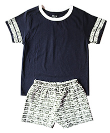Brown Boy Mini Organic Cotton Split Tee & Shorts Set - Blue & Grey