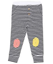 Brown Boy Mini Organic Striped Joggers - Black & White