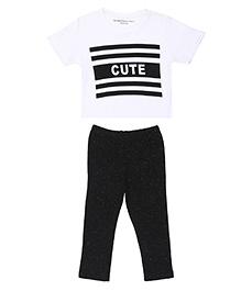 Brown Boy Mini Organic Cute Print Tee & Pant Set - White & Black