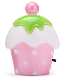 LED Night Lamp Cup Cake Shape - Light Pink & White