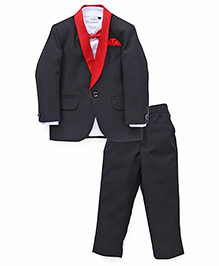Babyhug Three Piece Party Suit - Red Black