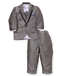 Babyhug 3 Piece Party Suit With Tie - Brownish Gold