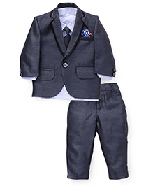Babyhug 3 Piece Party Suit With Tie - Grey