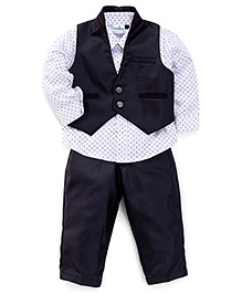Babyhug 3 Pieces Party Suit - Wine White