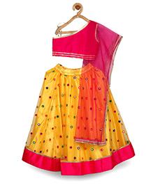 Pspeaches Mirror Work Lehenga Set - Pink & Yellow