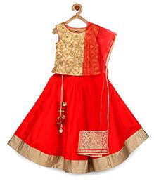 Pspeaches Beautiful Festive Lehenga Choli & Dupata - Red