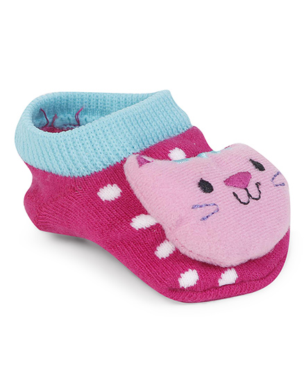 Fisher Price Sock Shoes Cat Applique - Pink Aqua Blue