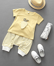 Pre Order - Lil Mantra Stripe Tee & Capris Set - Yellow