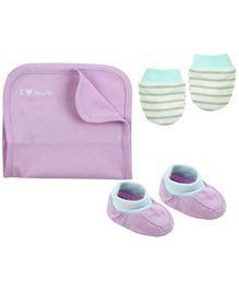 Babyoye Burp Cloth Mittens And Booties Set - White Purple