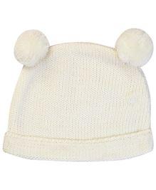 M&M Winter Cap With Pom Pom - Off White