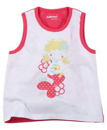 Babyoye Mermaid Print Sleeveless T-Shirt - White & Pink