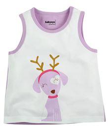 Babyoye Printed Sleeveless Tee - White & Purple