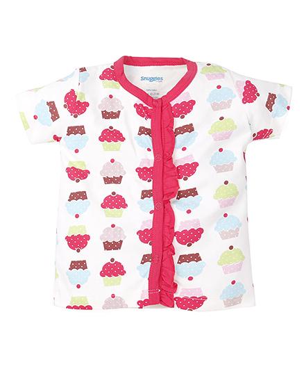 Snuggles Half Sleeves Vest - White Pink