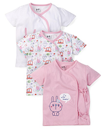Baby Pure Printed Tie Up Jhablas Pack Of 3 - Pink & White