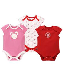 BabyPure Infant Envelope Neck Pack Of 3 Onesies - Red White Pink