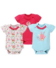 BabyPure Infant Short Sleeves Onesies Pack Of 3 - Blue Red Off White