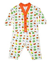 BabyPure Infant Full Sleeves Night Wear Set - Multi Color