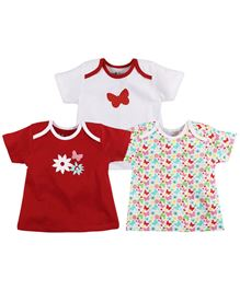 BabyPure Infant Envelope Neck Pack Of 3 Top - Red White Multi Color