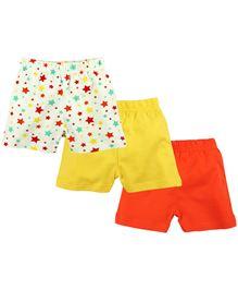 BabyPure Multi Printed Shorts Pack Of 3 - Yellow Orange White