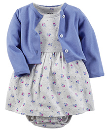 Baby Pure Dress With Cardigan - Lilac