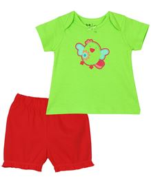 Baby Pure Top And Shorts Set - Green And Maroon