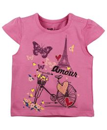 BabyPure Cap Sleeves T-Shirt With Print - Fuchsia Pink