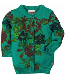 Fisher Price Apparel Full Sleeves Floral Knit Cardigan Sweater - Green
