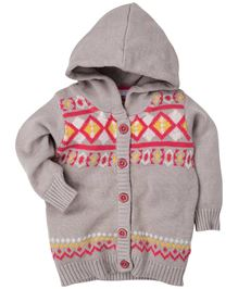 Fisher Price Apparel Full Sleeves Hooded Cardigan Sweater - Beige