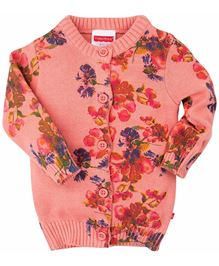 Fisher Price Apparel Full Sleeves Floral Knit Cardigan Sweater - Light Orange
