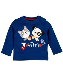 Fisher Price Apparel Full Sleeve T-Shirt With Cat And Dog Print - Navy