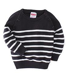 Fisher Price Apparel Full Sleeves Raglan Front Open Sweater - Black White