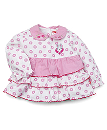 Fisher Price Apparel Full Sleeves Blouse With All Over Print - White And Pink