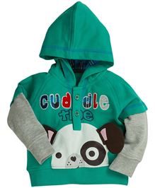 Fisher Price Apparel Hooded Sweatshirt With Cuddle Print - Dark Green