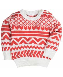 Fisher Price Full Sleeves Pullover Designer Sweater - White & Red