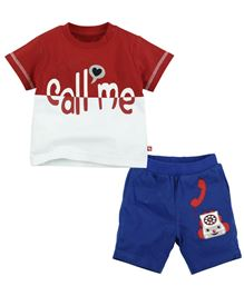 Fisher Price Apparel Half Sleeve Tee With Short - Red And Blue