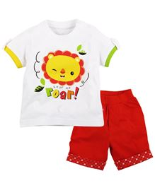 Fisher Price Apparel Lion Print Half Sleeve Tee With Shorts - White And Red