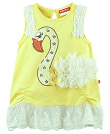 Fisher Price Apparel Swan Applique Sleeveless Dress - Yellow And White