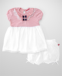Fisher Price Apparel Short Sleeves Frock With Bloomers - Peach White