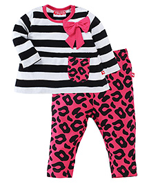 Fisher Price Apparel Striped Full Sleeve Top With Leggings - Black Pink