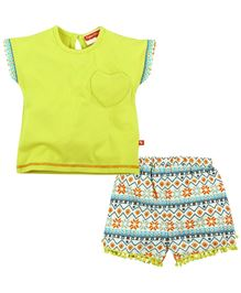 Fisher Price Apparel Half Sleeves Top With Shorts - Multi Coloured