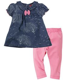 Fisher Price Apparel Nature Print Half Sleeve Top With Leggings - Blue Pink