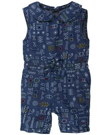 Fisher Price Apparel Printed Sleeveless Dungaree With Bow - Blue