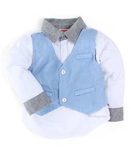 Fisher Price Apparel Full Sleeves Shirt With Waistcoat - Multicolor