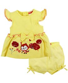 Fisher Price Apparel Embroidered Cap Sleeve Dress With Bloomer - Yellow